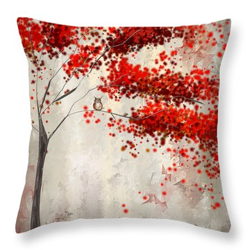 Owl In Autumn Throw Pillow