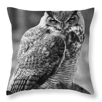 Owl In Black And White Throw Pillow
