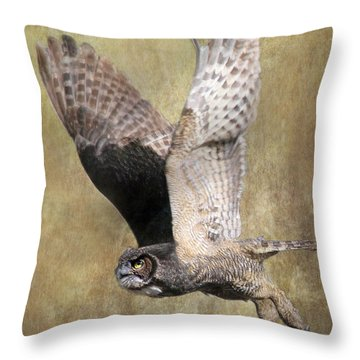 Owl In Flight Throw Pillow by Angie Vogel