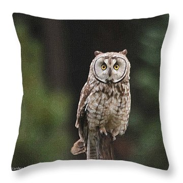 Owl In The Forest Visits Throw Pillow by Tom Janca
