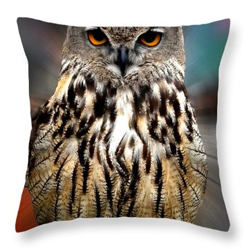 Owl Living In The Spanish Mountains Throw Pillow