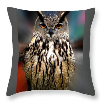 Throw Pillow featuring the photograph Owl Living In The Spanish Mountains by Colette V Hera  Guggenheim