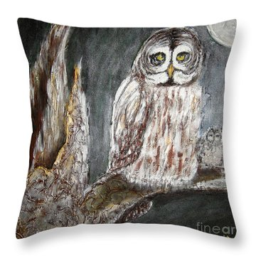 Owl Mother Throw Pillow