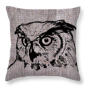 Owl On Burlap Throw Pillow