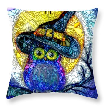 Throw Pillow featuring the painting Owl Scare You by Agata Lindquist