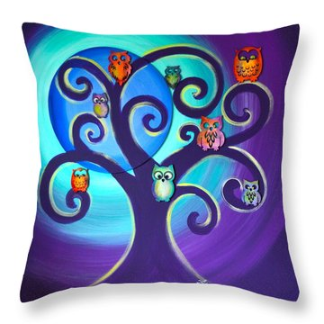 Throw Pillow featuring the mixed media Owl Sweet Family by Agata Lindquist