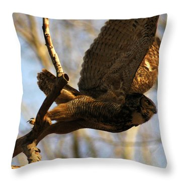 Owl Take Off Throw Pillow by Raymond Salani III
