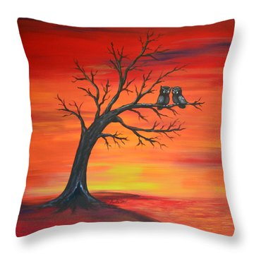 Throw Pillow featuring the painting Owl Tell You Something by Agata Lindquist