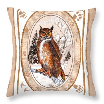 Owl Tracking His Prey Throw Pillow