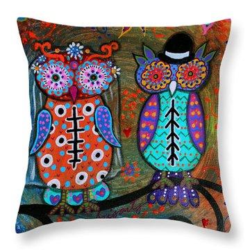 Owl Wedding Dia De Los Muertos Throw Pillow