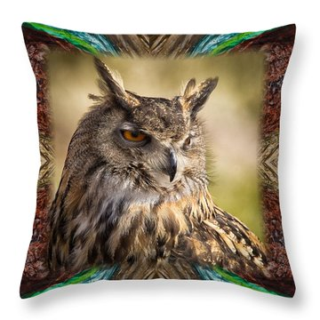 Owl With Collage Border Throw Pillow