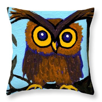 Owlette Throw Pillow by Genevieve Esson