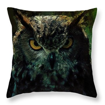 Throw Pillow featuring the digital art Owlish Tendencies by Galen Valle