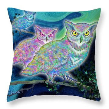 Throw Pillow featuring the painting Owls At Midnight  Square by Teresa Ascone