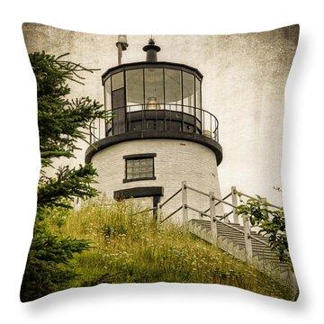 Owls Head Lighthouse Throw Pillow by Joan Carroll