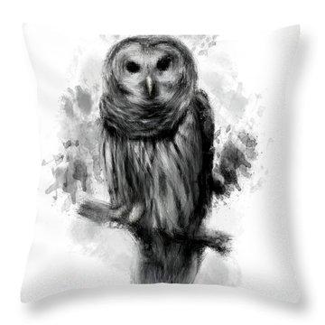 Owl's Portrait Throw Pillow by Lourry Legarde