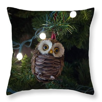 Owly Christmas Throw Pillow by Patricia Babbitt