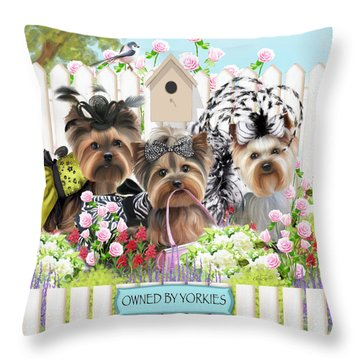 Owned By Yorkies II Throw Pillow by Catia Cho
