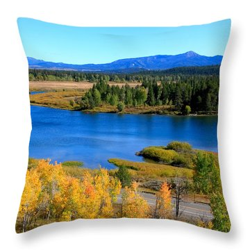 Oxbow Bend, Grand Teton National Park Throw Pillow