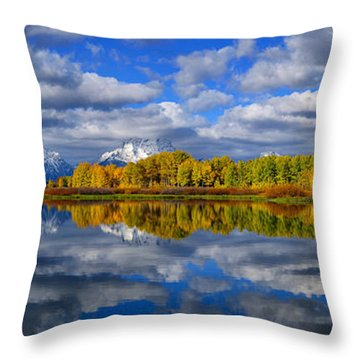 Oxbow Bend Peak Autumn Panorama Throw Pillow