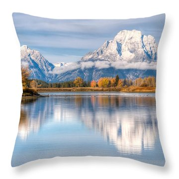 Oxbow Bend Reflections 0076 Throw Pillow