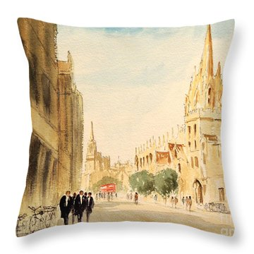 Throw Pillow featuring the painting Oxford High Street by Bill Holkham