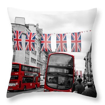 Oxford Street Flags Throw Pillow by Matt Malloy