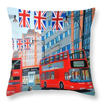 Oxford Street- Queen's Diamond Jubilee  Throw Pillow