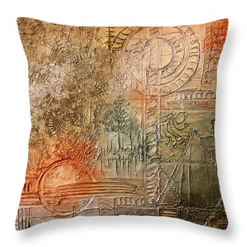 Throw Pillow featuring the painting Oxidization Sacred Geometry by Patricia Lintner