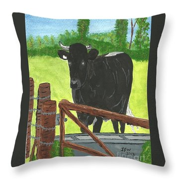 Throw Pillow featuring the painting Oxleaze Bull by John Williams