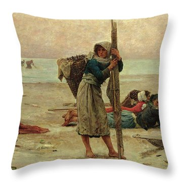 Oyster Catching Throw Pillow by Pierre Celestin Billet