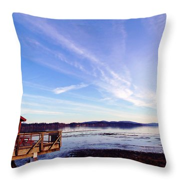 Oyster Flats Throw Pillow by Pamela Patch