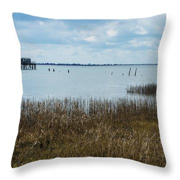 Oyster Shack And Tall Grass Throw Pillow