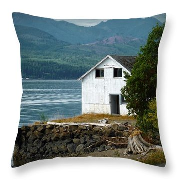 Throw Pillow featuring the photograph Old Oyster Shack by Patricia Strand