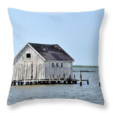 Oyster Shucking Shed Throw Pillow