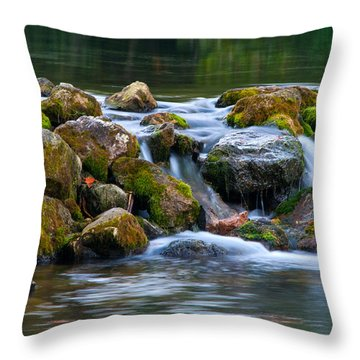 Ozark Waterfall Throw Pillow by Steve Stuller