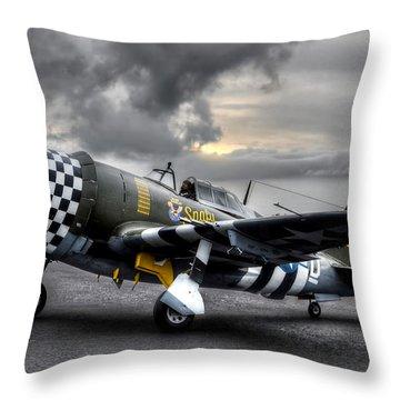 P-47 Sunset Throw Pillow