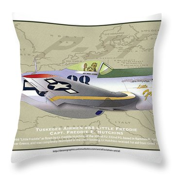 Throw Pillow featuring the drawing P-51  by Kenneth De Tore