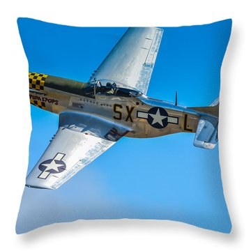 P-51 Mustang Break Out Roll Throw Pillow by Puget  Exposure