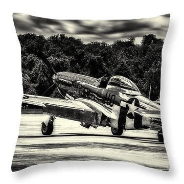 P-51 Mustang In Hdr Throw Pillow by Michael White