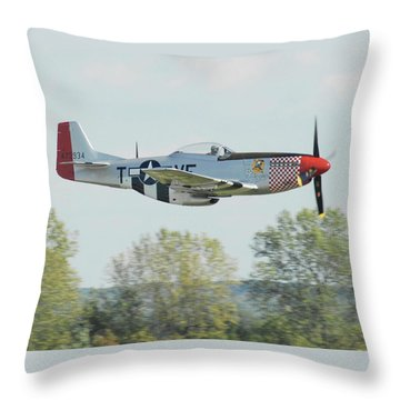 P-51d Mustang Shangrila Throw Pillow by Alan Toepfer