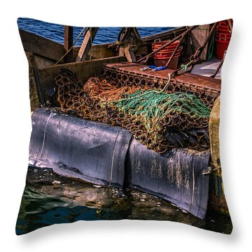 P-towns Fishing Troller  Throw Pillow by Susan Candelario