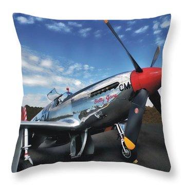 P-51 Mustang Betty Jane Throw Pillow