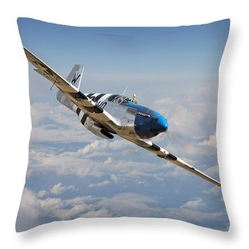 P51 Mustang - Symphony In Blue Throw Pillow
