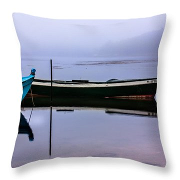 Pacheco Blue Boat Throw Pillow by Edgar Laureano