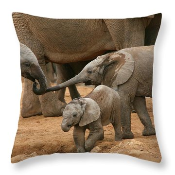 Pachyderm Pals Throw Pillow