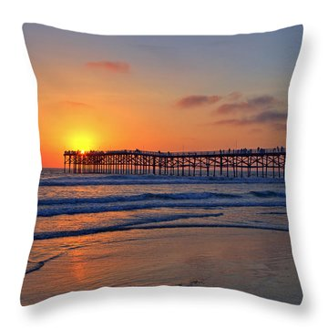 Pacific Beach Pier Sunset Throw Pillow