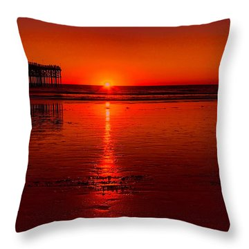 Pacific Beach Sunset Throw Pillow