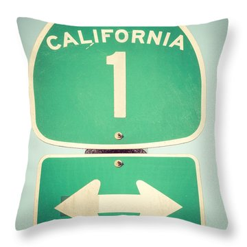 Pacific Coast Highway Sign California State Route 1  Throw Pillow by Paul Velgos
