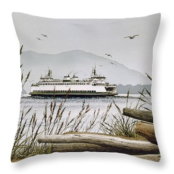 Pacific Northwest Ferry Throw Pillow by James Williamson